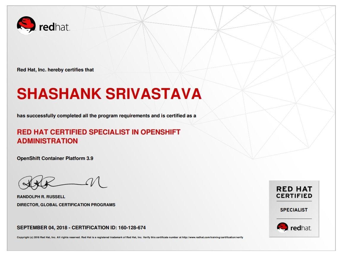 Redhat Inc Hereby Certifies That Shashank Srivastava Has