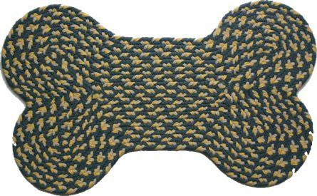 Dog Bone Rug - Williamsburg Blue, Yellow & Cream by Stroud Braided Rugs. $32.00. Stain resistant and machine washable (lay flat to dry). Reversible and fade resistant (color goes all the way through each fiber, not just on top). Indoor or outdoor use on any surface (wood, tile, brick, etc). Durable, high-quality, long-lasting material. Hand-crafted in North Carolina. This high-quality rug is hand-crafted by American workers at Stroud Braided Rugs - a family-owned bu...