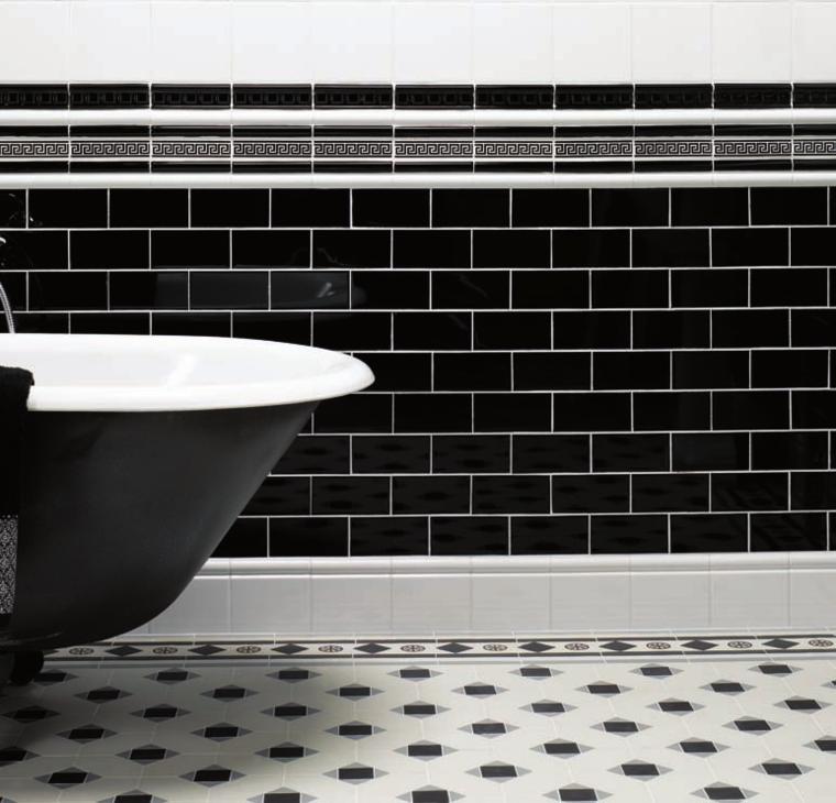 Carrelage noir et blanc pour d co mur et sol en style for Deco carrelage blanc