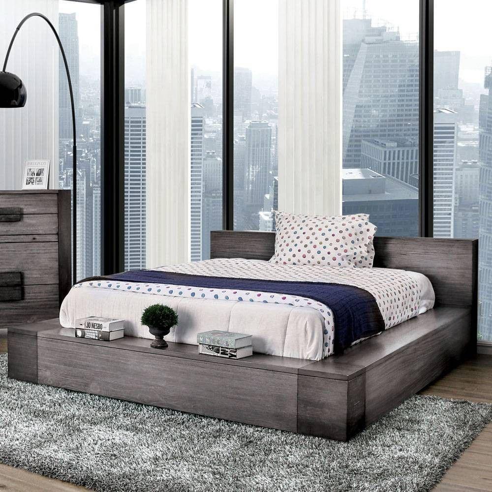 Page Low Profile Platform Bed King Dark Gray Sun Pine Rustic Bedroom Sets Furniture Platform Bed