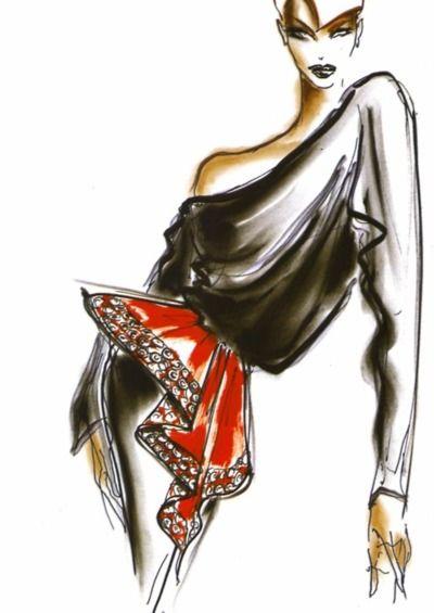 1981 - Azzedine Alaia drape red leather belt by Thierry Perez