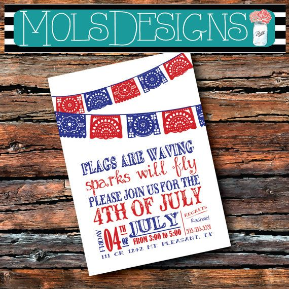FOURTH OF JULY 4th of July Flags Will Be Waving Sparks Will Fly Celebration Red White and Blue Party America Invitation