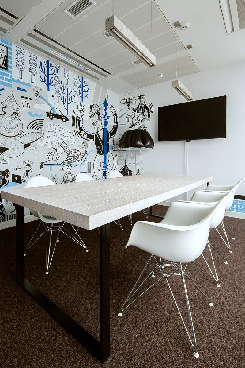 The Walls Of Facebooks Office In Poland Are Covered Cartoon
