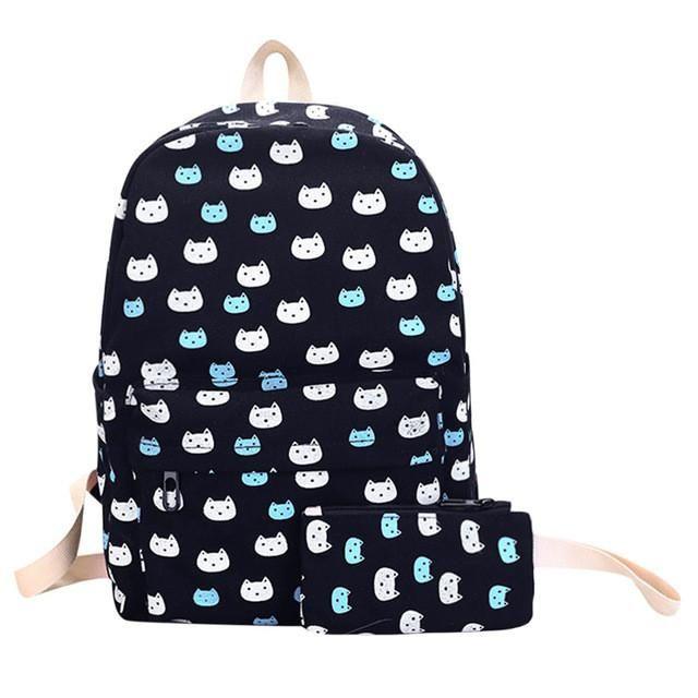 66d01970b1 2pcs Preppy Canvas Backpack Set Cute Cat Backpack Floral Printed School Bags  for Teenage Girls Cartoon