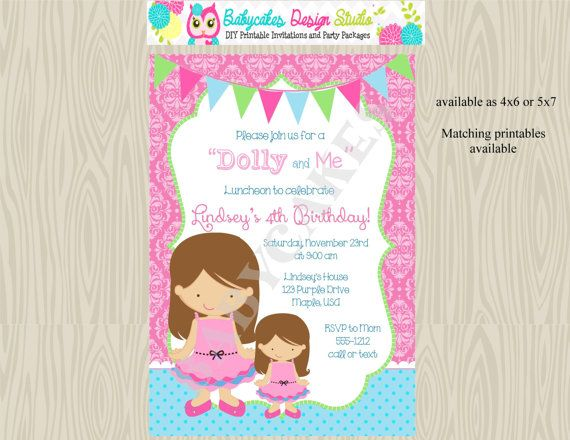 Dolly and Meamerican girldoll partyInvitationinviteprintable – Doll Party Invitations