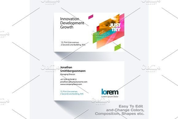 Vector business card template with colourful strong geometric shapes ...
