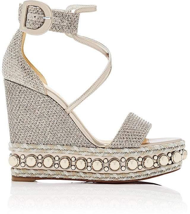 27f997fe327 Christian Louboutin Women s Chocazeppa Glitter Mesh Platform-Wedge Sandals