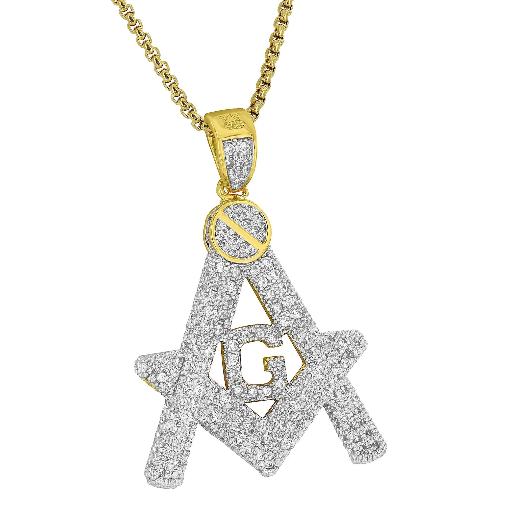 Freemason masonic g pendant iced out 18k gold plated steel necklace freemason masonic g pendant iced out 18k gold plated steel necklace religious aloadofball Gallery