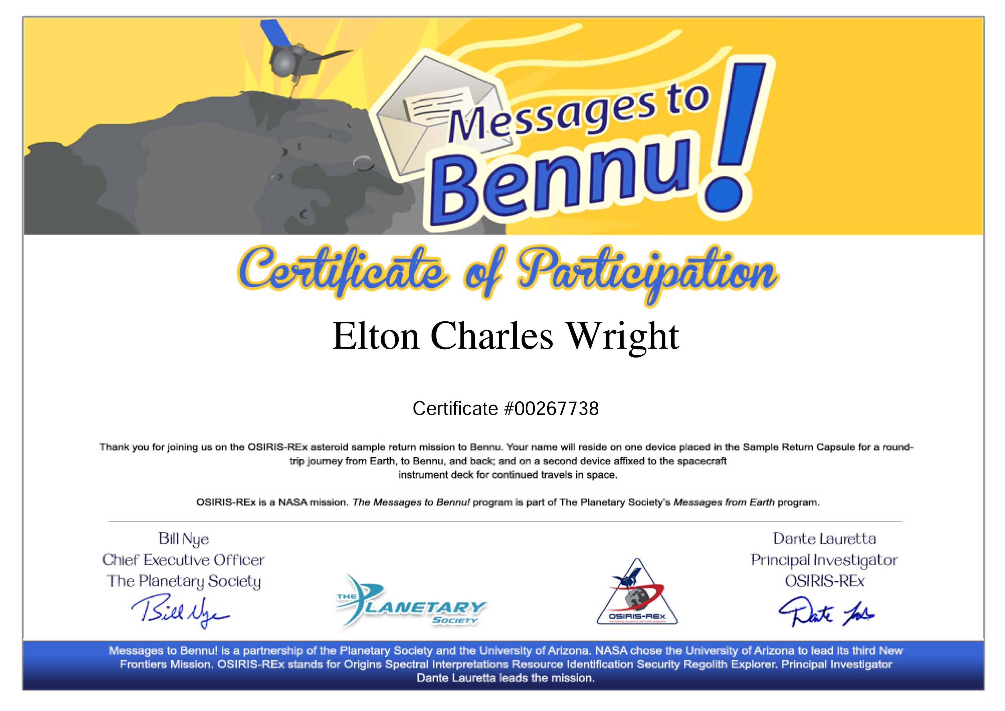 Certificate of participation in messages to bennu nasa