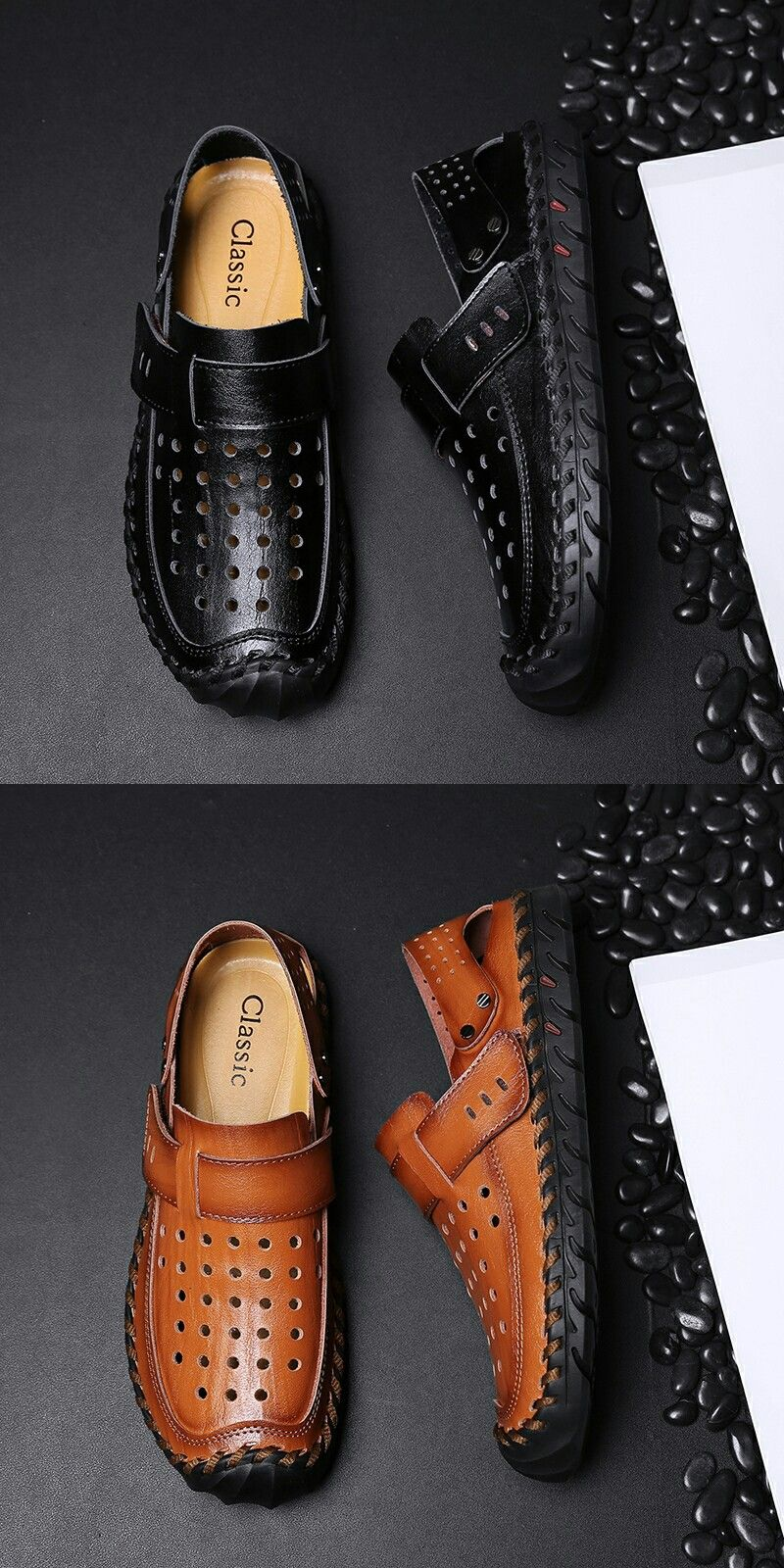 89e581edb0437 US  26.2  Click to buy  Prelesty Mens Sandals Leather Summer Shoes New Beach  Casual Shoes Outdoor