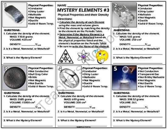 Worksheet mystery elements and their density 3 from covering physical properties density in particular of metals nonmetals and metalloids and their placement in the periodic table of elements urtaz Choice Image