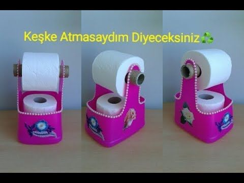 DIY : Deterjan Bidonundan Tuvalet Kağıtlığı-Toilet Paper Rac…
