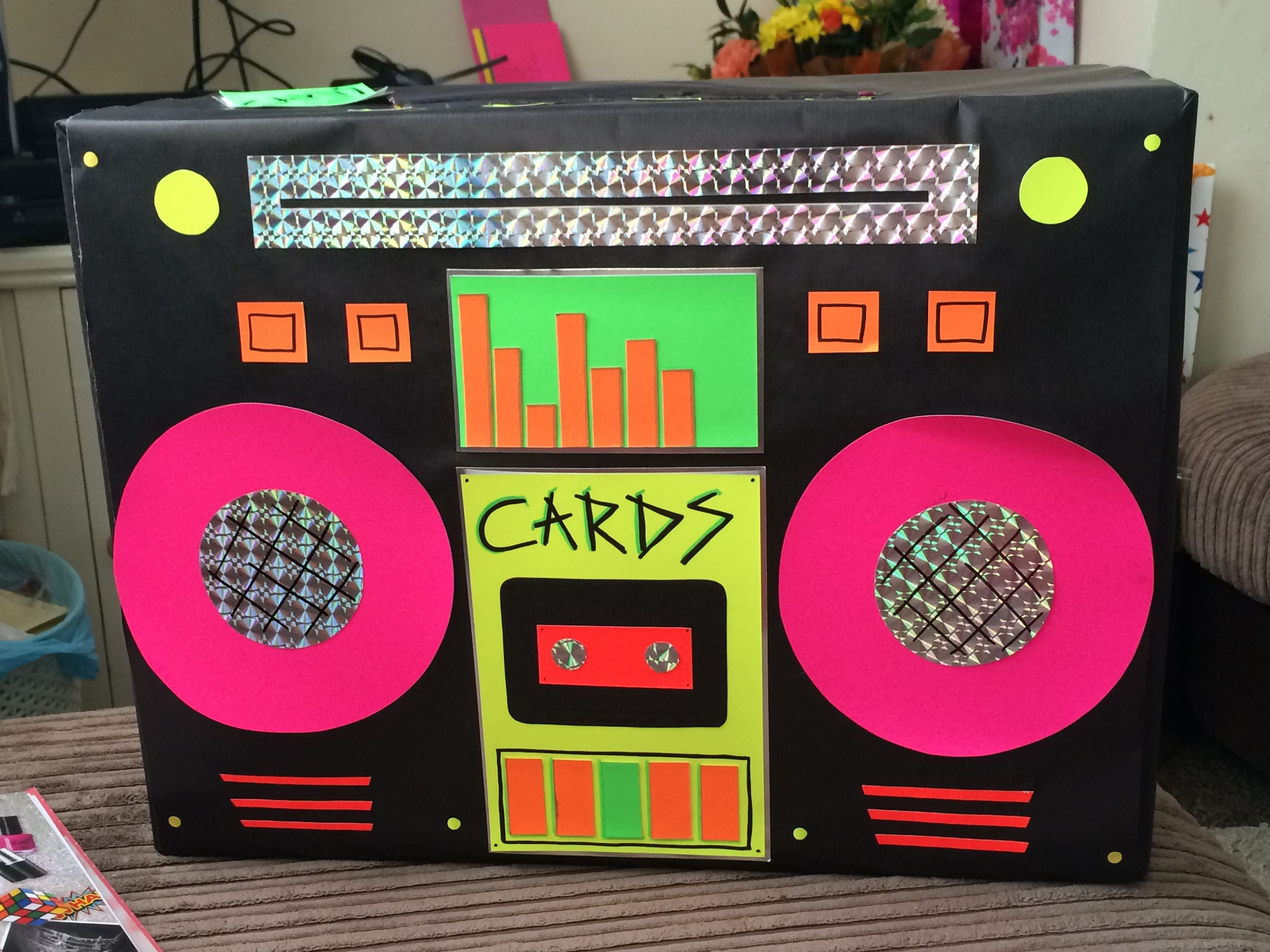Handmade retro neon boom box card box looked perfect on for 80 s table decoration ideas