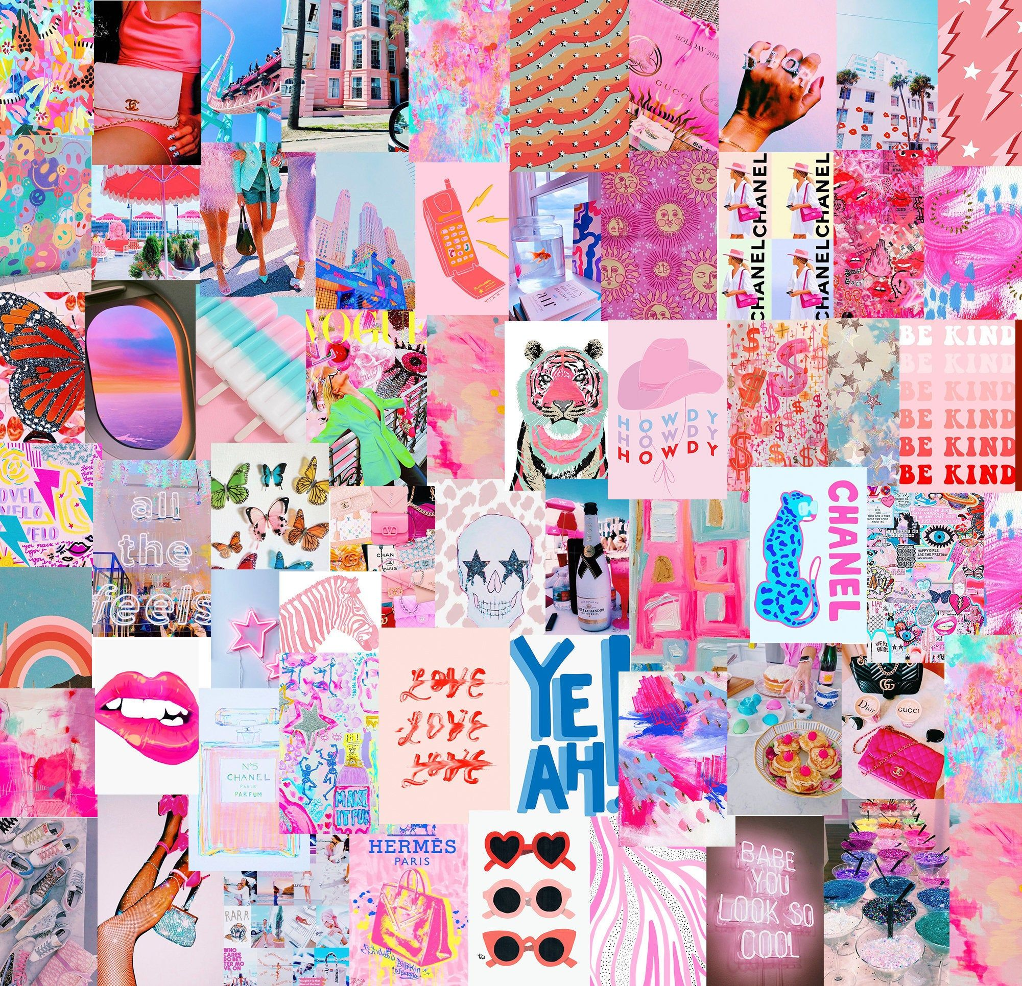 Ready to Print Neon Boujee Aesthetic, Bright Wall Collage Kit   Pack of 60 photos   Digital File