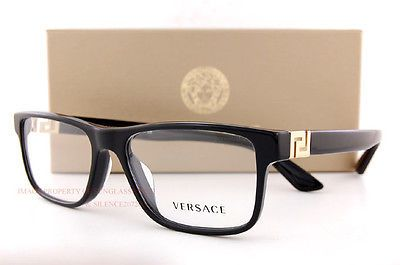 c2864337a7a Brand New VERSACE Eyeglasses Frames 3211 GB1 BLACK for Men 100% Authentic  SZ 55