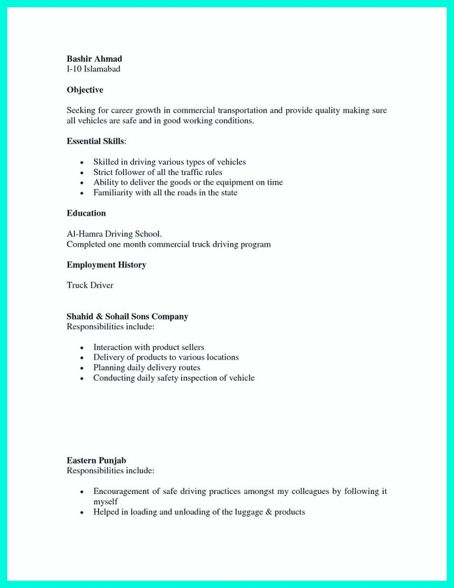 Simple but Serious Mistake in Making CDL Driver Resume