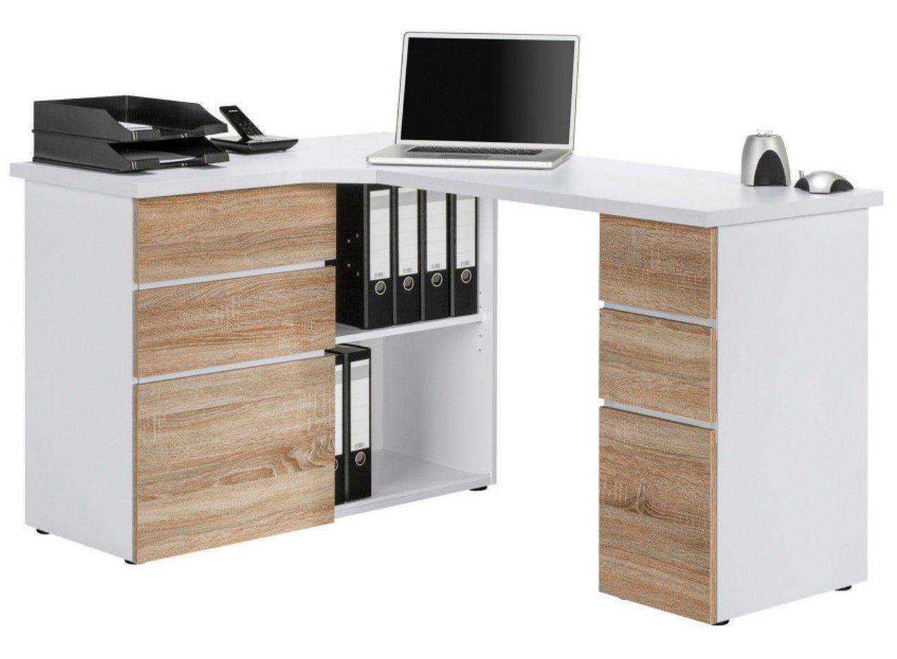 Bureau d angle design en bois chêne sonoma albert creche
