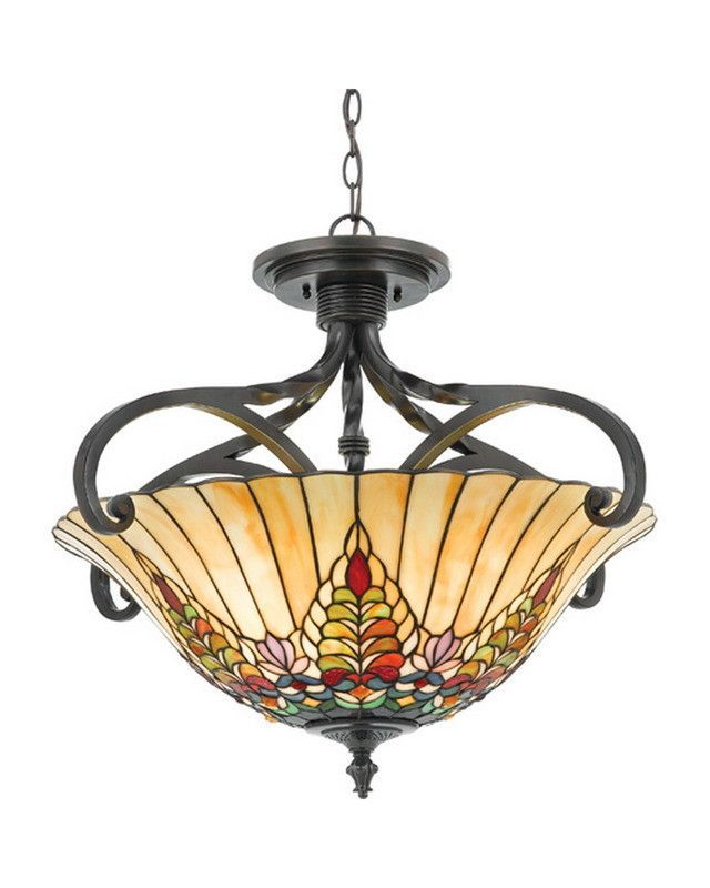 Quoizel lighting 5733 va giardino collection four light semi flush mount with tiffany shade in valiant