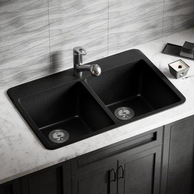 Diamond 32 L X 21 W Double Basin Undermount Kitchen Sink Drop In Kitchen Sink Sink Black Sink