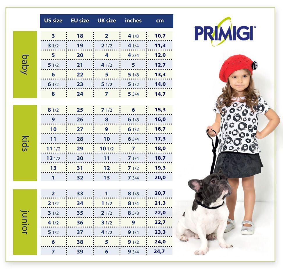 Primigi Shoe Size Guide