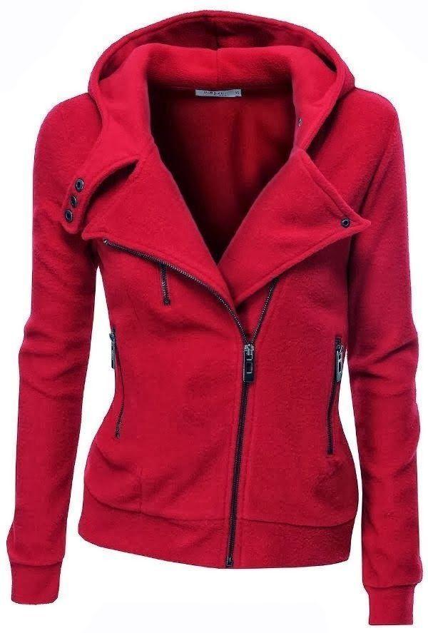 Women's Fleece Zip Up Moto Jacket - Bright Red Size Large #Dablju #Hoodie