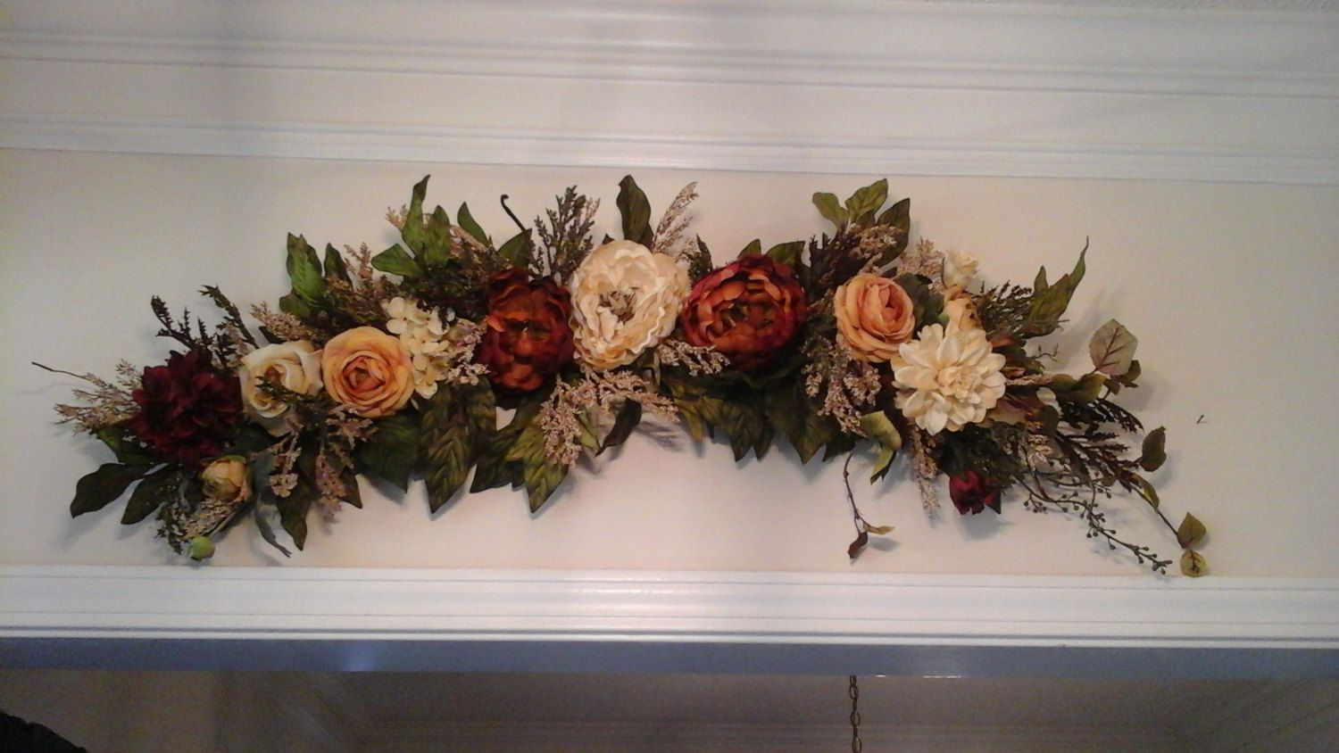 Silk Arrangements For Home Decor Floral Wall Swagtuscan Silk Floral Arrangementshipping Included