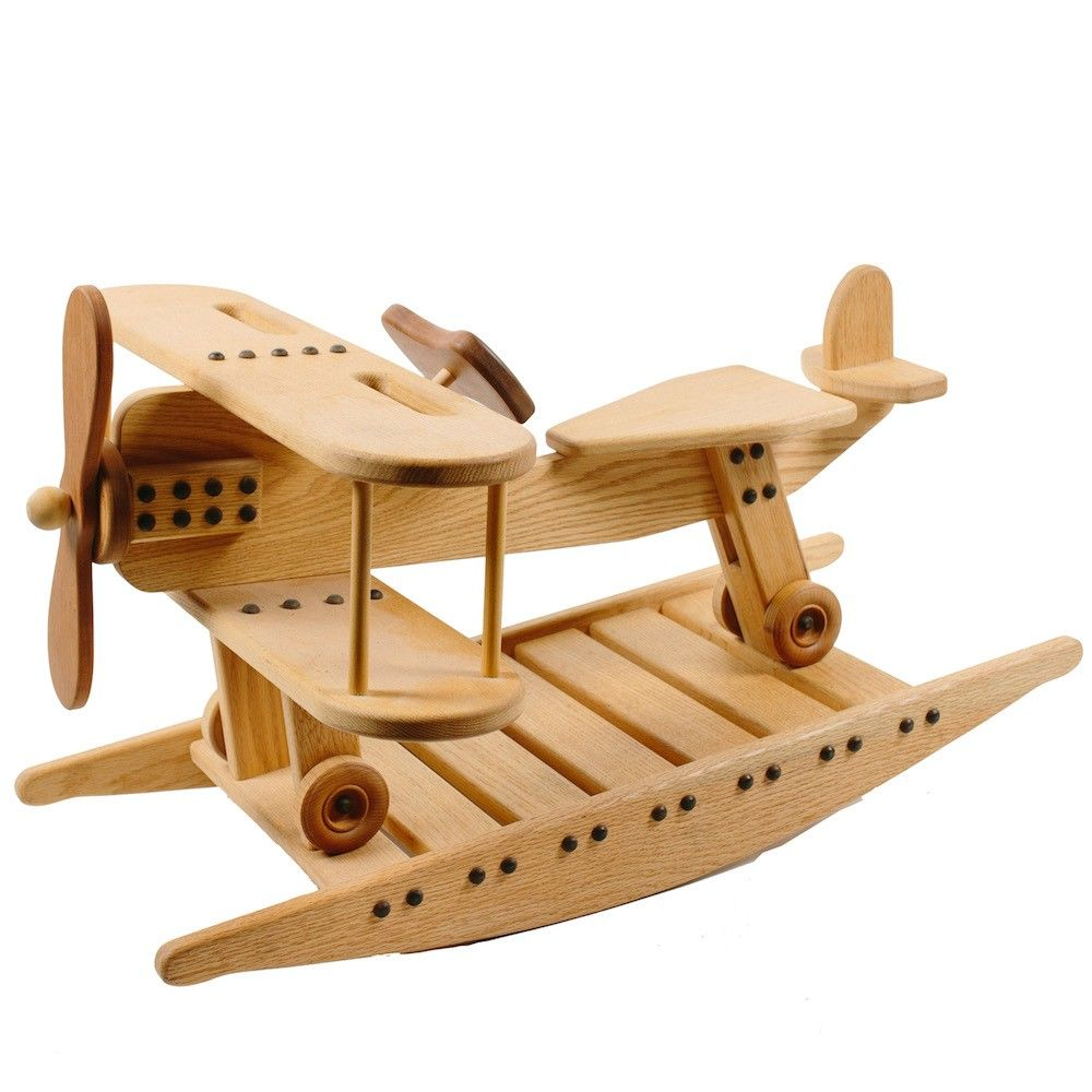 Wooden Toy Rocking Airplane - Made in Maine. www.bellalunatoys.com $299.95