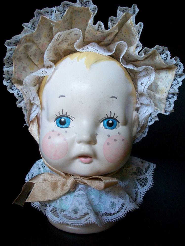 VINTAGE ENESCO BABY GIRL HEADVASE HEAD VASE PIGGY BANK