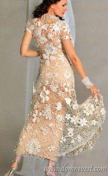 Vestido de novia en crochet irlandes