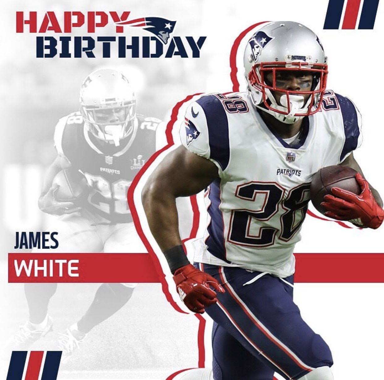 Happy Birthday James White Rb Sweetfeet Haveaday New England Patriots Patriots James White