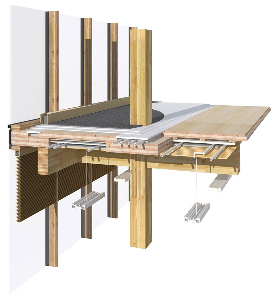 Widc S Primary Structure Is An Innovative Combination Of Post And Beam Construction With Built Up Cross Laminated Timber Structure Wood Building Post And Beam