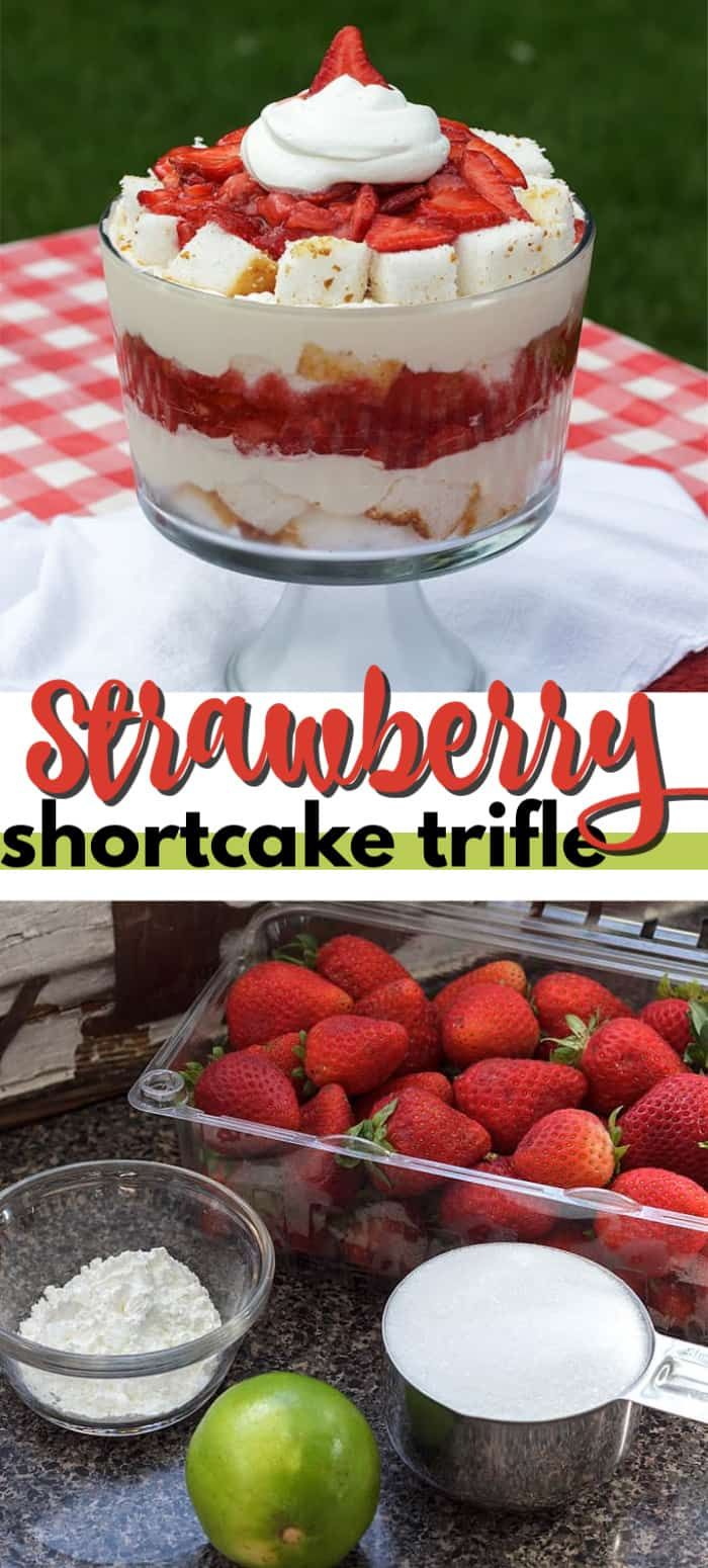 My Strawberry Shortcake Trifle made with angel food cake is reminiscent of the famous cake, in that it uses a macerated strawberry sauce with the addition of fresh strawberries, and a delicious whipped cream and cream cheese layer, all stacked together in a trifle bowl with sweet angel food cake.