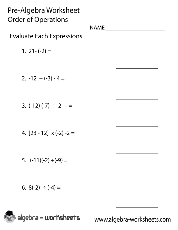 Order Operations PreAlgebra Worksheet  PreAlgebra Worksheets