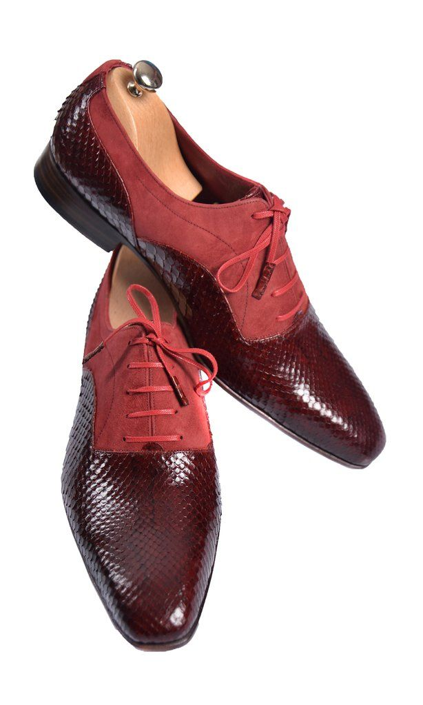 Suede Red Uomo And Snake ShoesScarpe Men Handmade Lace Up qUMSzVp