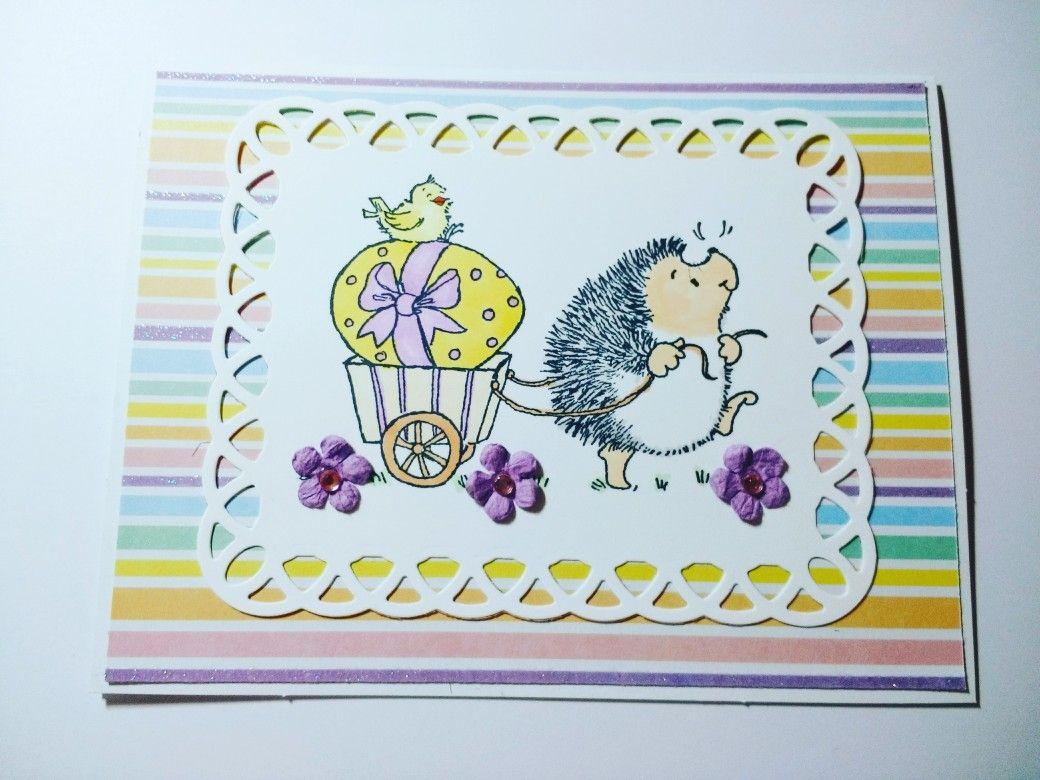 Easter Card Hedgehog Easter Egg Flowers Handmade Greeting Card