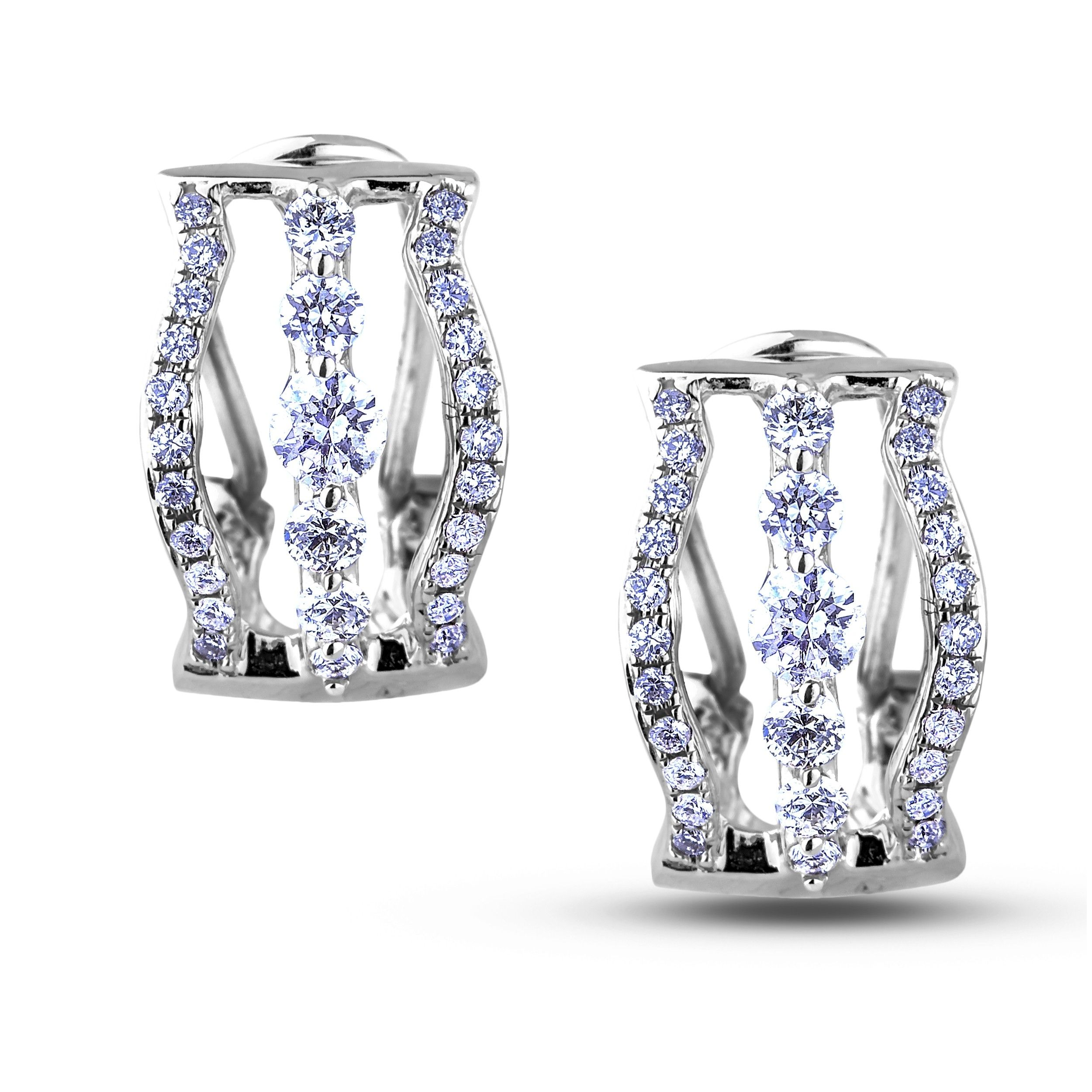 Canadian Diamond Hoop Earrings White Gold Featuring 2 0 20 Carat Total Weight Round