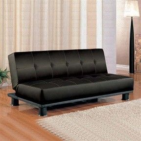 Black Leather Like Vinyl San Clemente Convertible Futon Sofa Bed