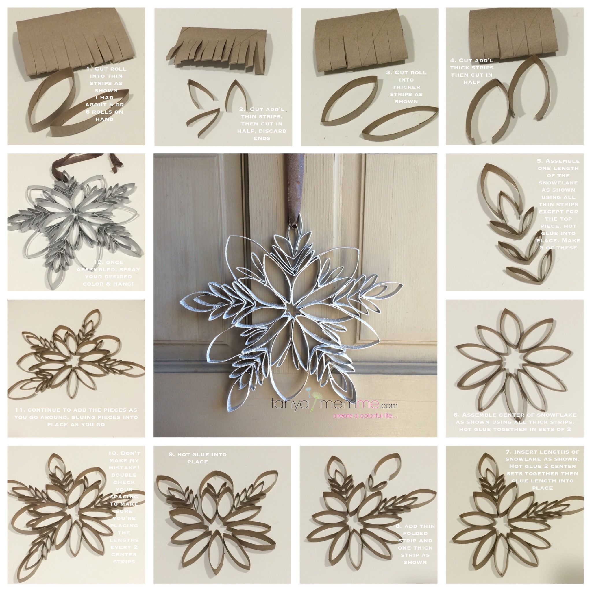 Make a snowflake from toilet paper rolls so easy and only for Crafts made out of paper towel rolls