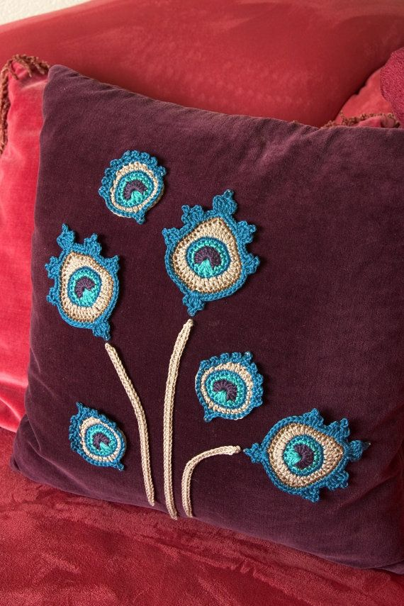 Crochet Peacock Feather Appliques with by TheCurioCraftsRoom