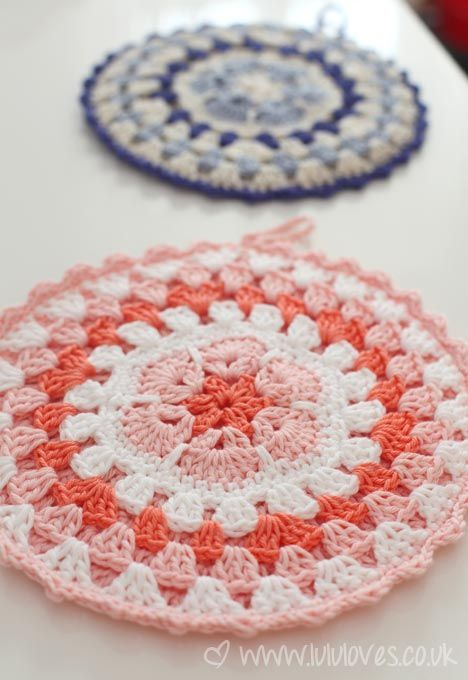 African Flower Potholders Free Crochet Pattern Link Crochet For