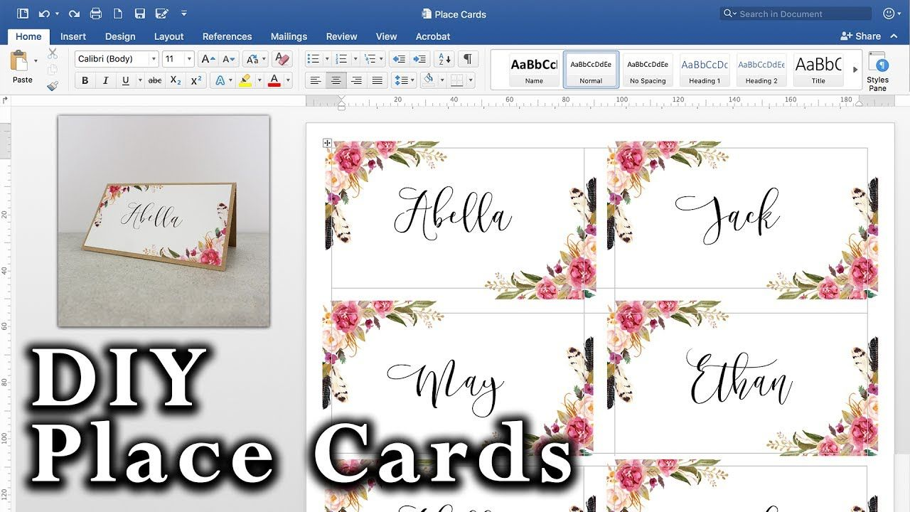 How To Make Diy Place Cards With Mail Merge In Ms Word And Adobe Illustrator Inside M Free Place Card Template Place Card Template Wedding Place Card Templates
