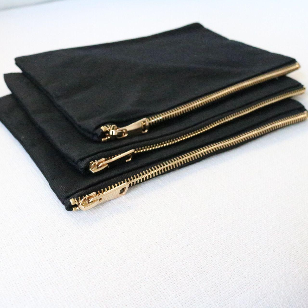 Wholesale Blank Cosmetic Bags Black/Black/Gold 12pk