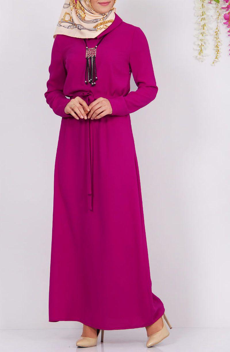 Düz Kesim Elbise - Fuşya | kıyafet | Pinterest
