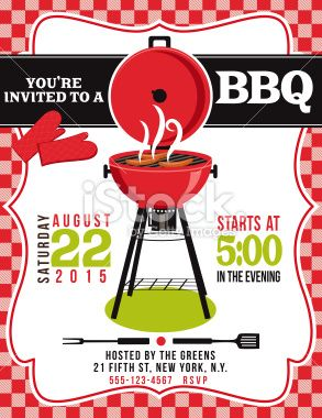 bbq invitation template on red white checked background there is a