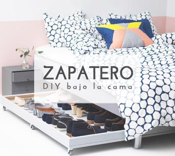 DIY ZAPATERO BAJO LA CAMA | Pinterest | Zapateras, Bajos y Camas