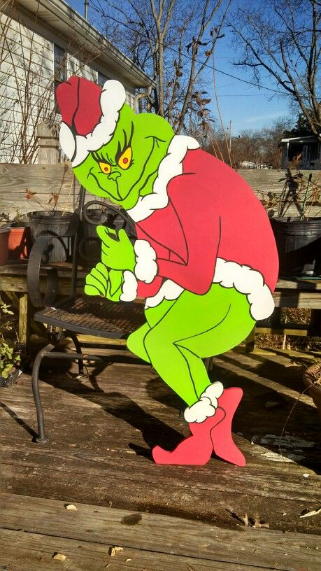 Grinch stealing Christmas lights yard art decoration. Hands are notched to  hold light strings securely. - Grinch Stealing Christmas Lights Yard Art Decoration. Hands Are