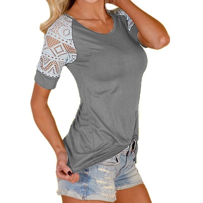 48efa30bd7 2018 Mujer Verano Remera Blusa Nueva Sexy Manga Corta Crochet Casual Slim  Top Camiseta