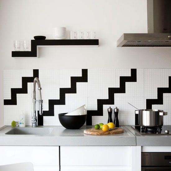 Great Black And White Kitchen Wall Idea Love The Zig Zag Designs