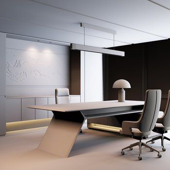 Contemporary Luxurious Grey Desk And Chair Suit 3d Model Office Furniture Design Luxury Office Furniture Office Table Design