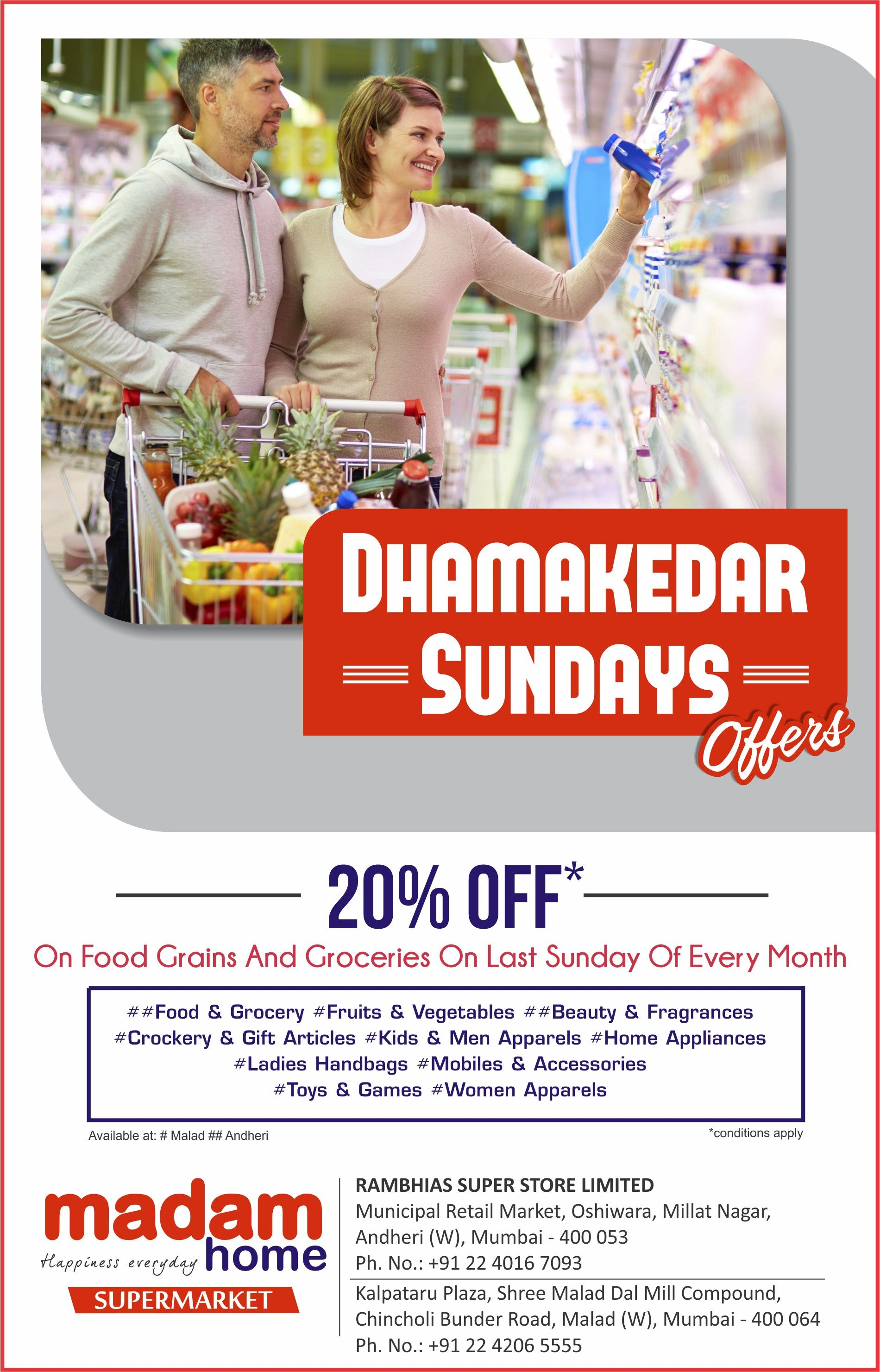 #Shopping Is Always A Good Idea at #MadamHome .Visit our #Stores At #Malad & #Andheri On Every Last #Sunday Of Every Month To Avail 20% #Discount On All #Grossary . For More Details #Contact our Stores at +91 22 4206 5555.